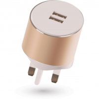 Kit Platinum Dual USB Mains Charger 3.4A Auto Detect, Gold