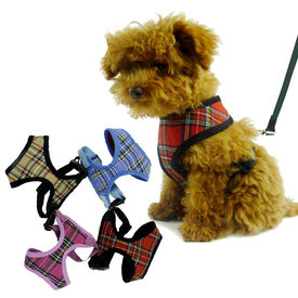 Puppy Love Checkered Cotton Vest Harness for Toy to Small Breed Dogs, blue, medium