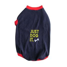 Rays Fleece Warm Embroidery Tshirt for Small Dogs, 18 inch, navy just do it