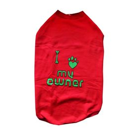 Rays Fleece Warm Love Owner Rubber Print Tshirt for Large to Giant Dogs, 30 inch, red