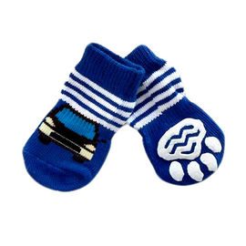 Puppy Love Anti Skid Socks for Medium Breed Dogs, blue car, large