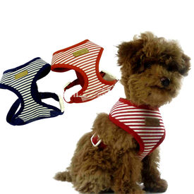 Puppy Love Striped Cotton Vest Harness for Small Breed Dogs, red, large