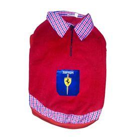 Rays Premium Double Fleece Warm Collar Tshirt for Small Dogs, red ferrari, 16 inch