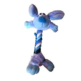 Canine Rope Squeaky Soft Toy for Cats and Small Dogs, 6 inch, blue