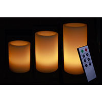 Yellow LED Candles with Remote - Set of 3