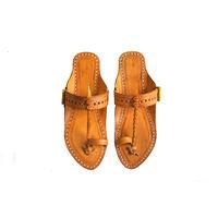 Yellow Leather Kolhapuri Chappal, 5