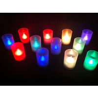 Multicolour Tealight LED Candles in Frosted Cups - Set of 12