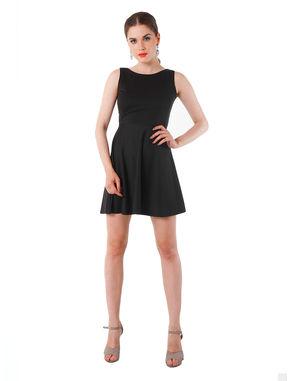Cut-out Back Textured Black Dress, m, black