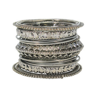 Alluring Trendy Silver Tone Metal Bangle Set For Girls, 2-4