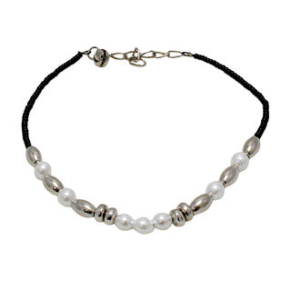 Black Beads Anklet Adorned With Pearl