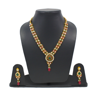 Red Green Double Layer Necklace Set With Kundan