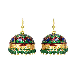 Round Jhumki In Meenakari With Dangling Green Pearls