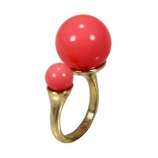 Pink Balls On Gold Tone Fashion Ring, adjustable