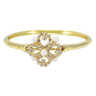 Golden Finish Flower With White Stone Bracelet, free size