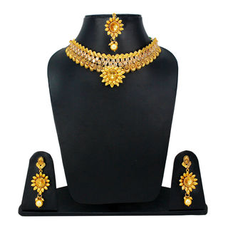 Golden Pearl and Stones Adorned Traditional Necklace Set