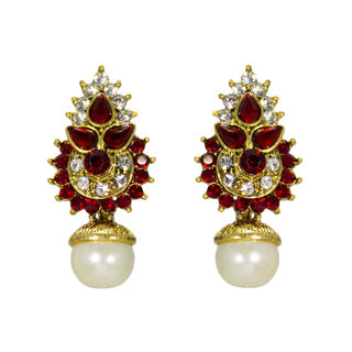 Maroon And Golden Ethnic Stud Earrings For Women