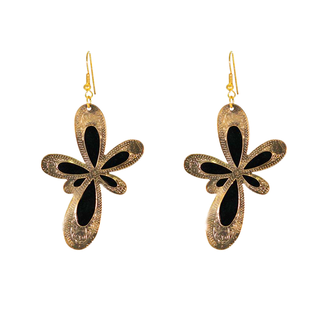 Black and Golden Fashion Alloy Dangler Earrings For Women