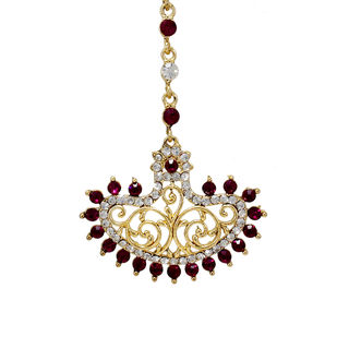 Designer Pink And White Stone Studded Maang Tikka