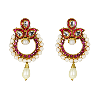 Ethnic Pink Earring Studded With Kundan and Dangling Pearl