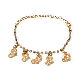Gold Tone Anklet With Dangling Hearts For Girls