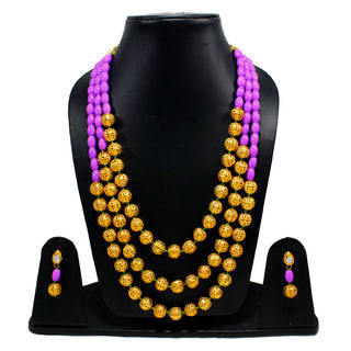 Purple And Golden Beads Triple Layer Necklace