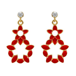 Gold Tone Danglers With Red Leaf Design