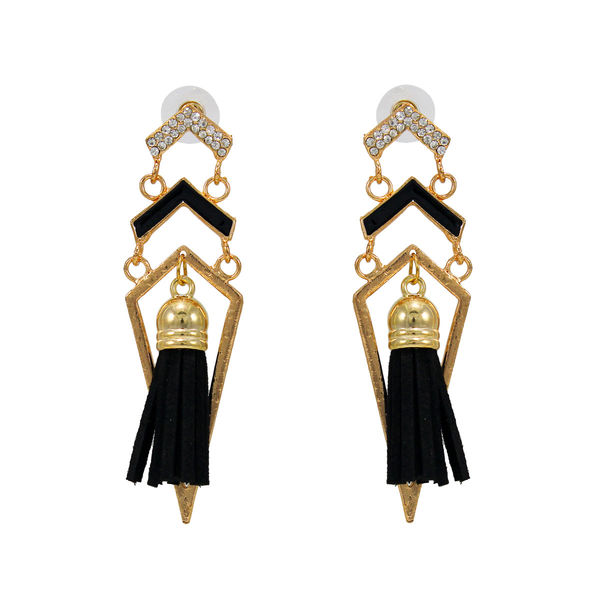 Stylish Golden And Black Fashion Danglers For Girls