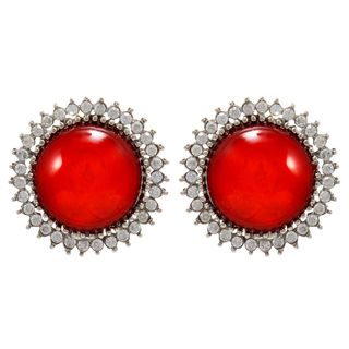 Round Red Stone Adorned Studs For Women