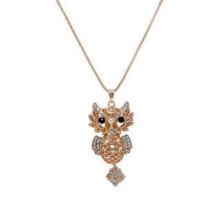 Chunky Gold Tone Owl Pendant Adorned With Stones