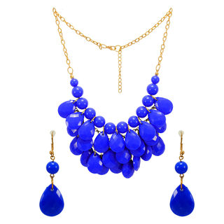 Stunning Fashion Necklace With Dangling Blue Beads