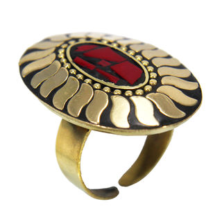 Designer Fashion Ring In Golden And Red For Women, adjustable