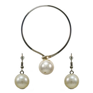 Pearl Adorned Silver Tone Choker With Earrings