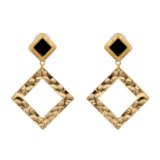 Black Stone With Dangling Golden Square For Women