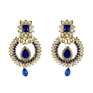 Ethnic Blue Dangler With Kundan And Stones