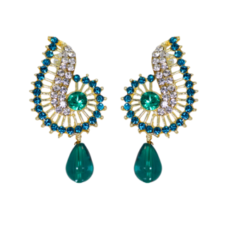 Gold Tone Blue Stone Ethnic Studs For Women