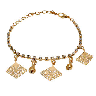 Golden Square Dangling Anklet For Girls