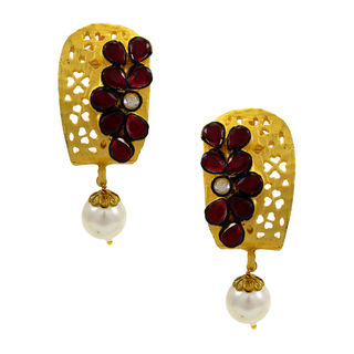 Red Stone Embellished Gold Tone Earring With Dangling Pearl