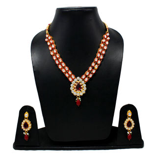 Ethnic Necklace Set Adorned With Red And White Stones