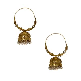 Beautiful Pair Of Golden Ethnic Hoops For Women