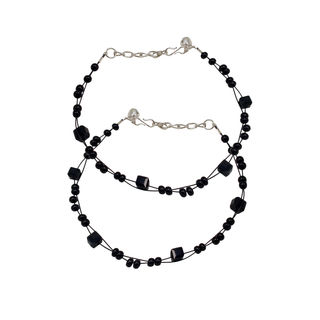 Black Beads Fashion Anklet For Girls