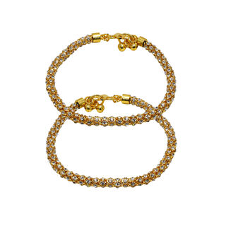 White Stone Filled Gold Tone Payal For Women
