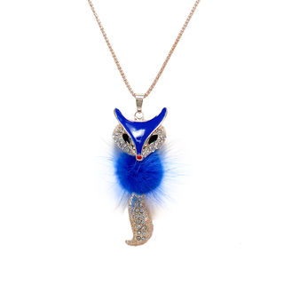 Blue and golden Fox Pendant Adorned With Fur