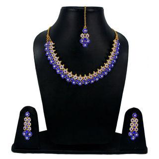 Blue Stones Adorned Floral Sleek Necklace For Women