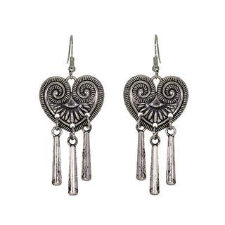 Oxidised Metal Heart Shape Earrings