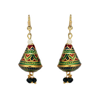 Green Triangle Dangling Jhumki With Pearls