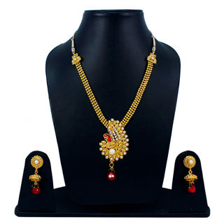 Red And Golden Traditional Necklace With Peacock Design