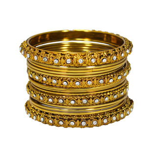 Beautiful Party Wear Bangles Set In Gold Tone, 2-8