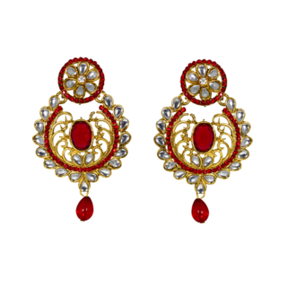 Stunning Golden Red Ethnic Danglers Studded With Kundan