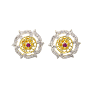 American Diamond Round Shape Ethnic Studs Earrings