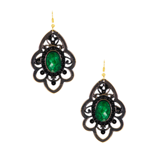 Metallic Green Stone Dangler Earrings For Women